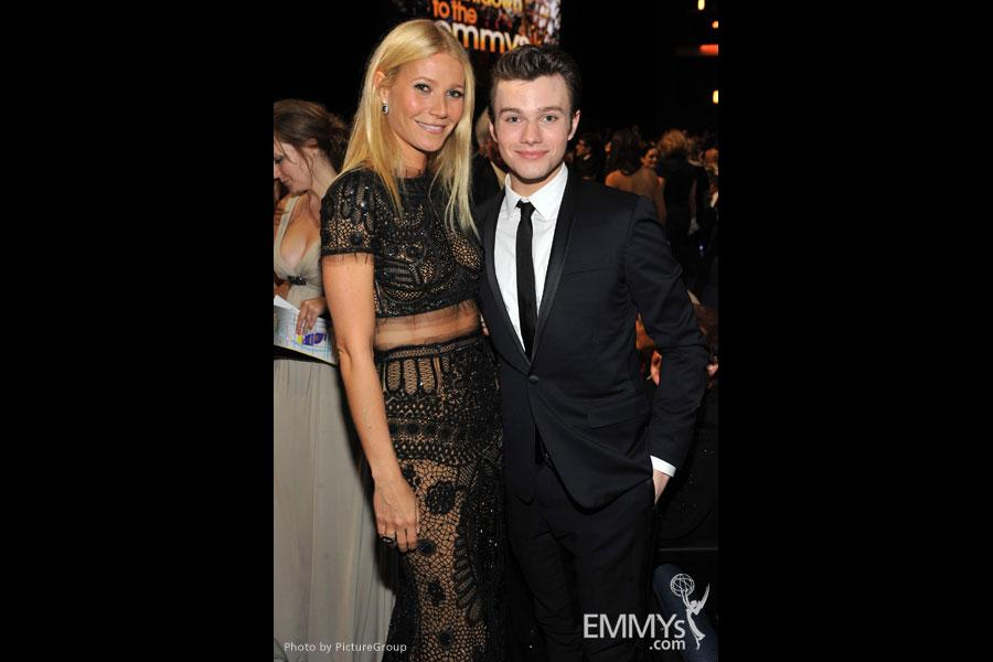 Gwyneth Paltrow and Chris Colfer during the Academy of Television Arts & Sciences 63rd Primetime Emmy Awards
