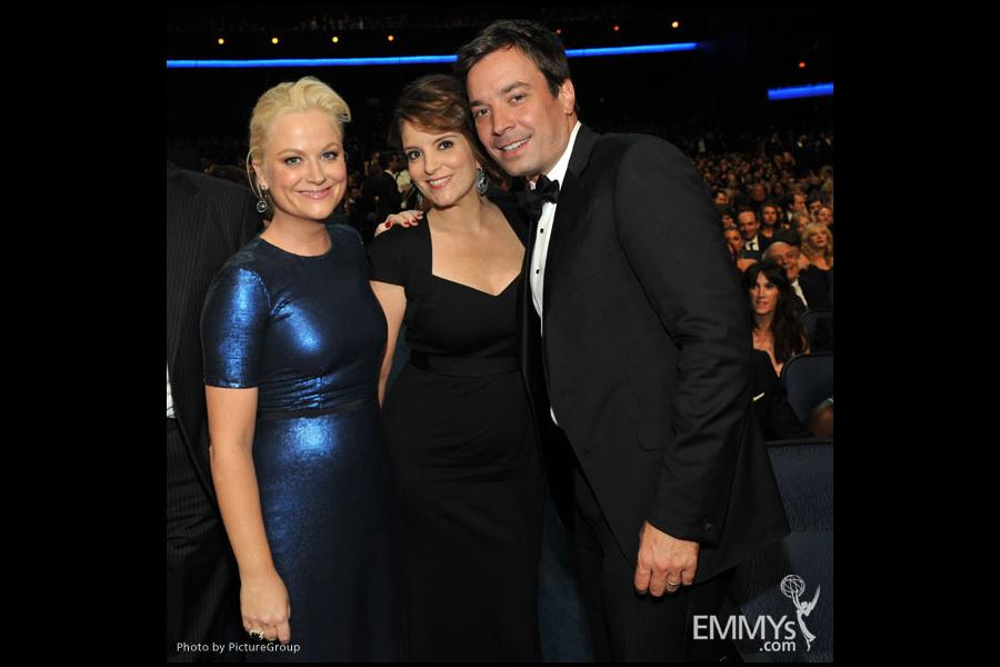 Amy Poehler, Tina Fey and Jimmy Fallon during the Academy of Television Arts & Sciences 63rd Primetime Emmy Awards
