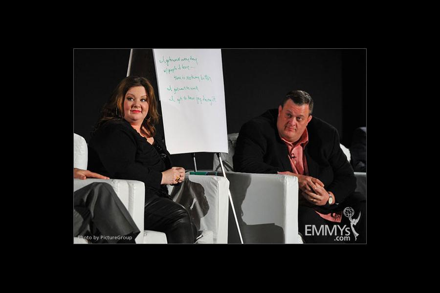 Melissa McCarthy and Billy Gardell participate in an Evening with Mike & Molly