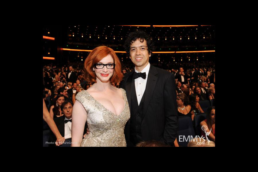 Christina Hendricks (L) and Geoffrey Arend (R) in the audience