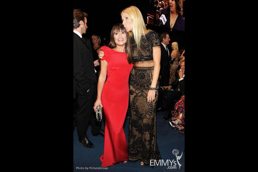 Lea Michele (L) and Gwyneth Paltrow in the audience during the Academy of Television Arts & Sciences 63rd Primetime Emmy Awards