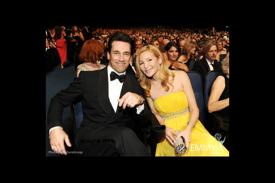 Jon Hamm (L) and Jennifer Westfeldt (R) in the audience