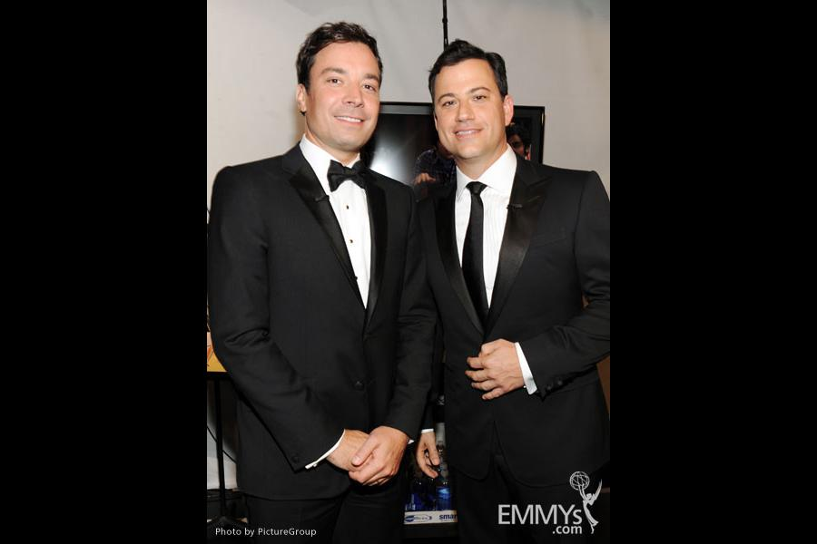 Jimmy Fallon and Jimmy Kimmel in the audience during the Academy of Television Arts & Sciences 63rd Primetime Emmy Awards