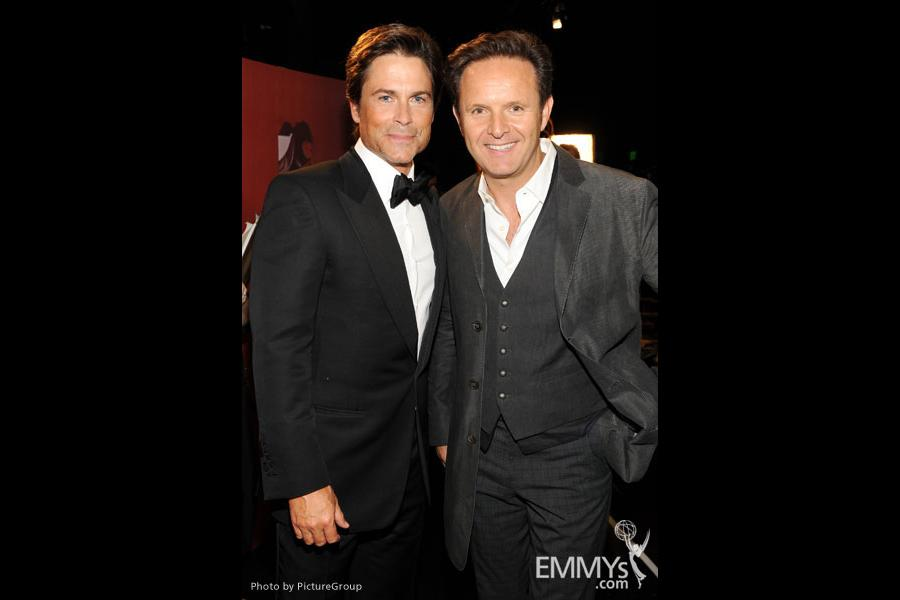 Rob Lowe (L) and executive producer Mark Burnett (R) backstage