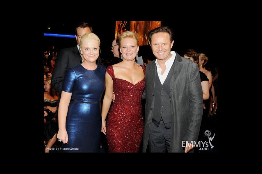 (L-R) Amy Poehler, Martha Plimpton and Mark Burnett backstage