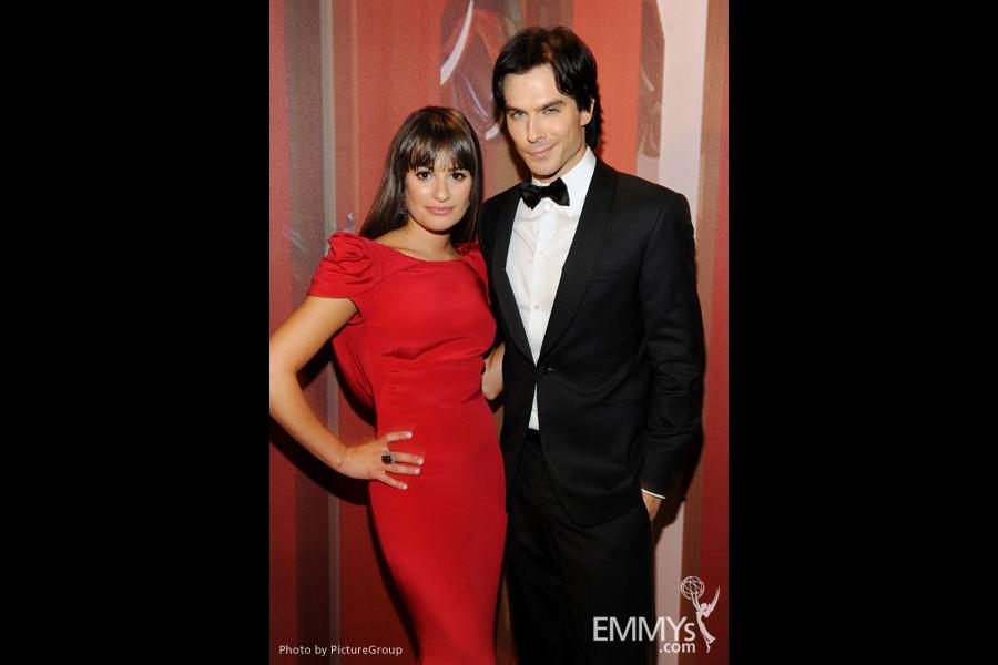 Lea Michele (L) and Ian Somerhalder backstage during the Academy of Television Arts & Sciences 63rd Primetime Emmy Awards