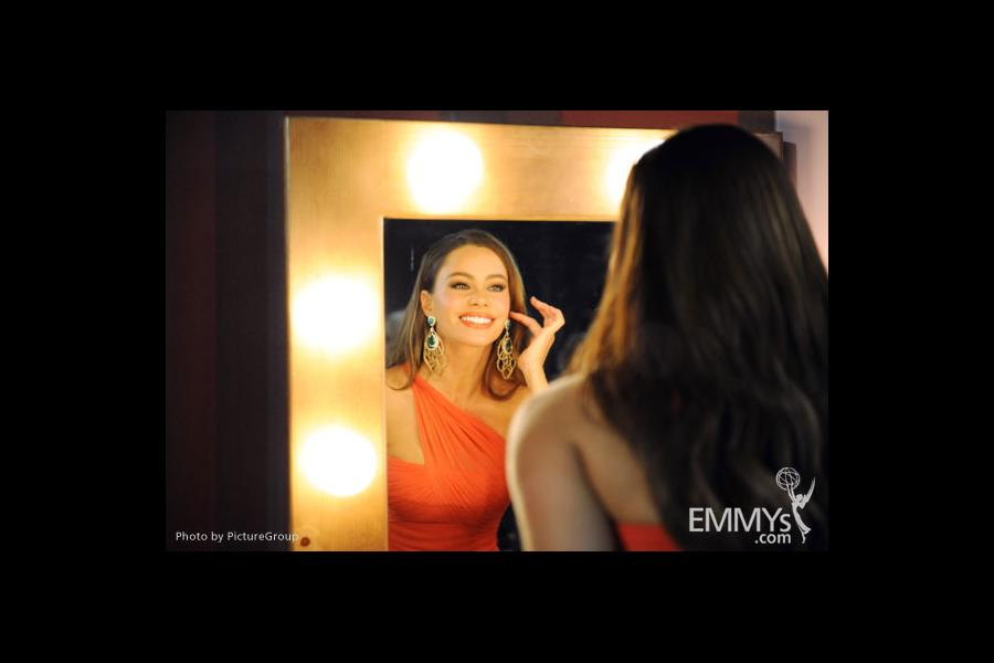 Sofia Vergara backstage during the Academy of Television Arts & Sciences 63rd Primetime Emmy Awards at Nokia Theatre L.A. Live
