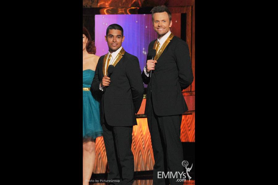 (L-R) Wilmer Valderrama, Joel McHale onstage at the Academy of Television Arts & Sciences 63rd Primetime Emmy Awards