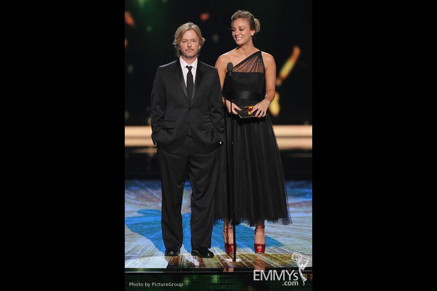 (L-R) David Spade, Kaley Cuoco presenting onstage at the Academy of Television Arts & Sciences 63rd Primetime Emmy Awards