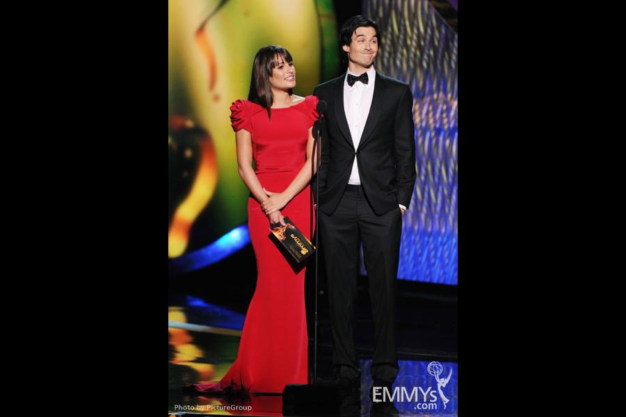 Lea Michele, Ian Somerhalder onstage at the Academy of Television Arts & Sciences 63rd Primetime Emmy Awards