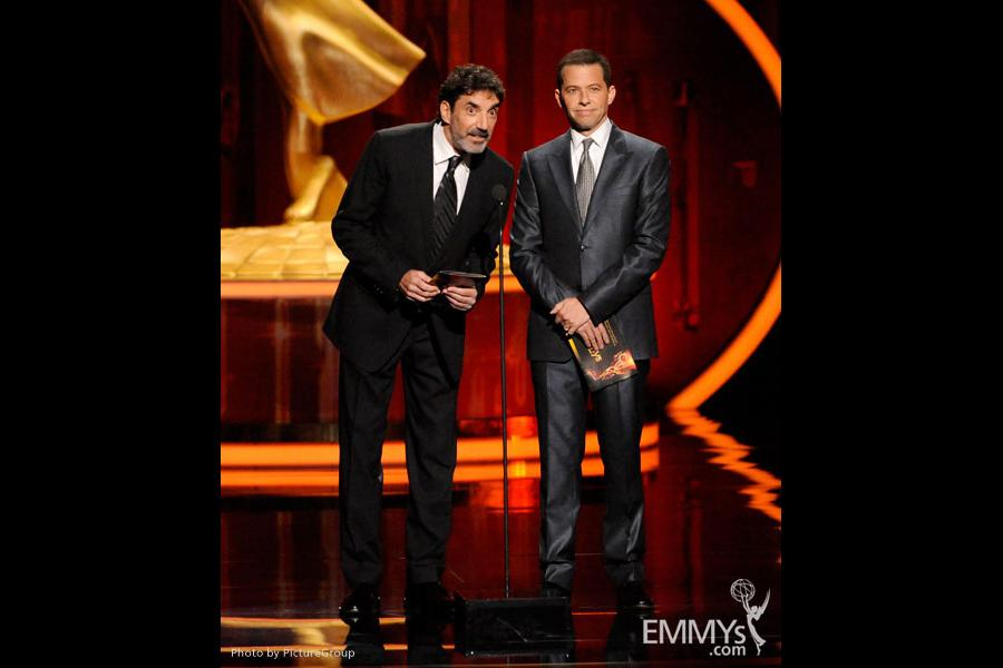 Chuck Lorre and Jon Cryer present at the Academy of Television Arts and Sciences 2011 Primetime Creative Arts Emmys