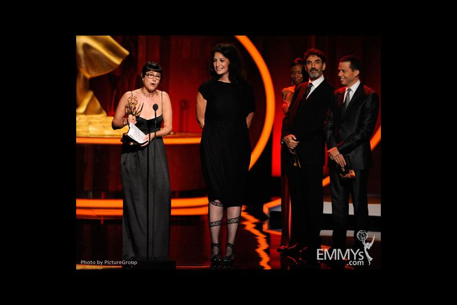 Ellen Lewis and Meredith Tucker accept award at the Academy of Television Arts and Sciences 2011 Primetime Creative Arts Emmys