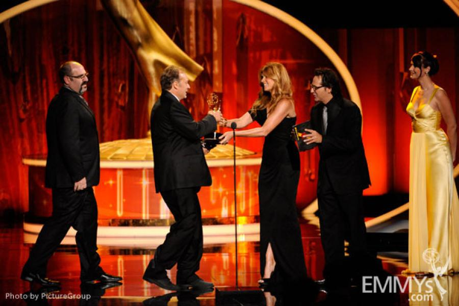 Prosthetic makeup team from The Walking Dead accepting their award at the 2011 Primetime Creative Arts Emmys
