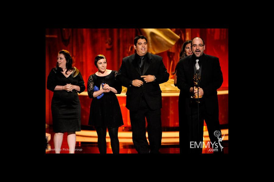 Makeup team of Saturday Night Live accepting their award at the 2011 Primetime Creative Arts Emmys