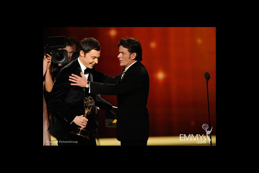 Jim Parsons and Charlie Sheen at the 63rd Primetime Emmys