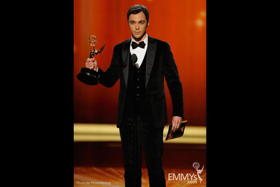 """Jim Parsons accepts the award for Outstanding Lead Actor in a Comedy Series  for """"The Big Bang Theory"""""""