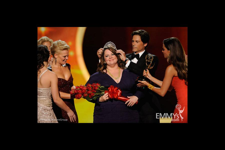 "Melissa McCarthy accepts the award for Outstanding Lead Actress in a Comedy Series  for ""Mike and Molly"""
