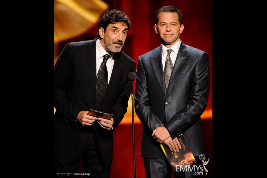Chuck Lorre and Jon Cryer presenting onstage at the Academy of Television Arts and Sciences 2011 Primetime Creative Arts Emmys