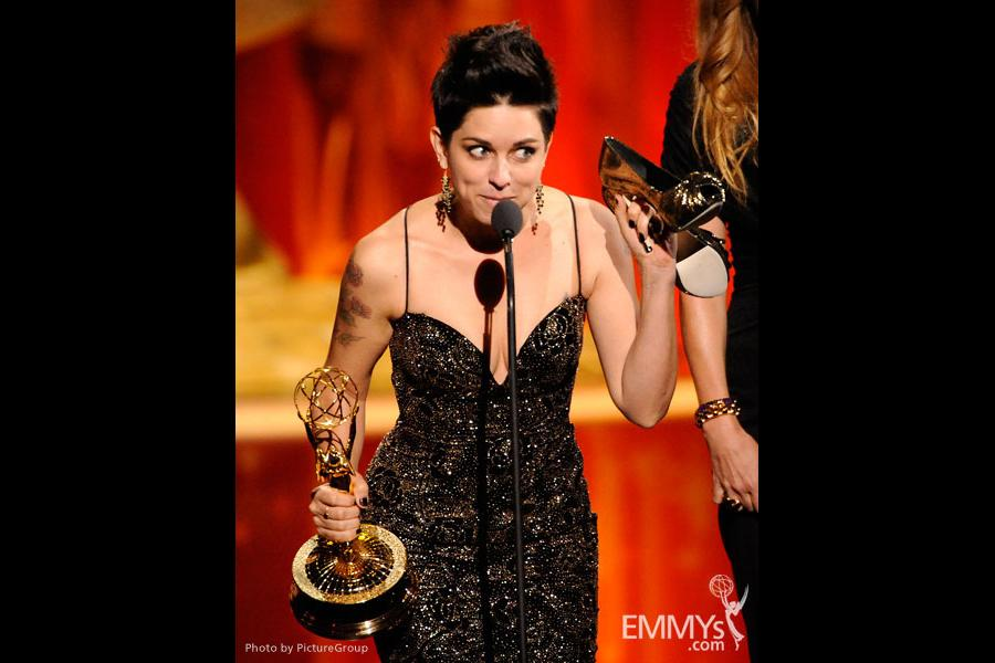 """Makeup team from Boardwalk Empire accepting the award for """"Oustanding makeup for a single-camera series"""""""