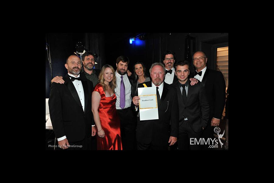 "Winning team from ""Deadliest Catch"" backstage at the Academy of Television Arts and Sciences 2011 Primetime Creative Arts Emmys"