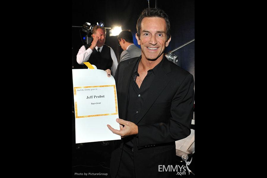 Emmy award winner Jeff Probst backstage at the Academy of Television Arts and Sciences 2011 Primetime Creative Arts Emmys