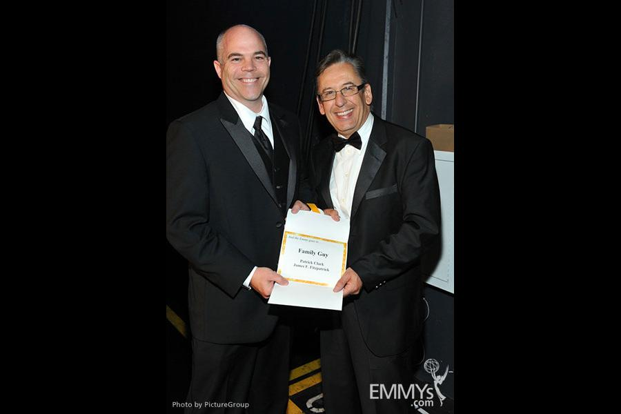 Emmy award winners Patrick Clark and James F. Fitzpatrick backstage at the Academy of Television Arts and Sciences 2011 Primetim