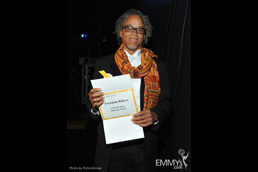 Emmy award winner Aljernon Tunsil backstage at the Academy of Television Arts & Sciences 2011 Primetime Creative Arts Emmy Award