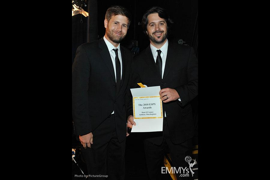 Emmy award winners Matt O'Conor and Anthony Marchegiano backstage