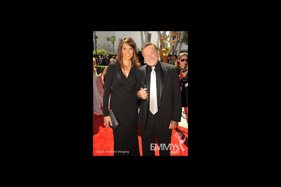Susan Schneider and Robin Williams at the 62nd Primetime Creative Arts Emmy Awards