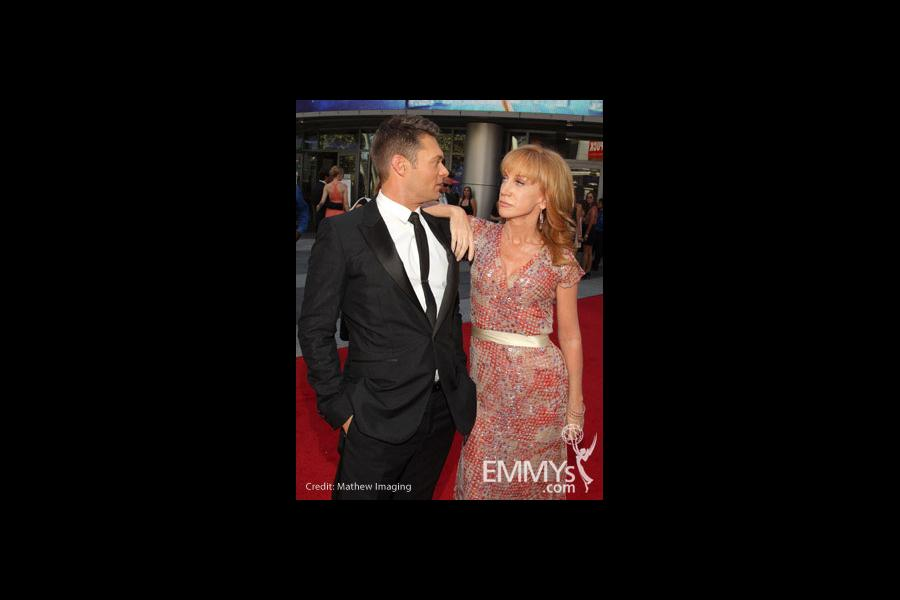 Ryan Seacrest and Kathy Griffin at the 62nd Primetime Creative Arts Emmy Awards