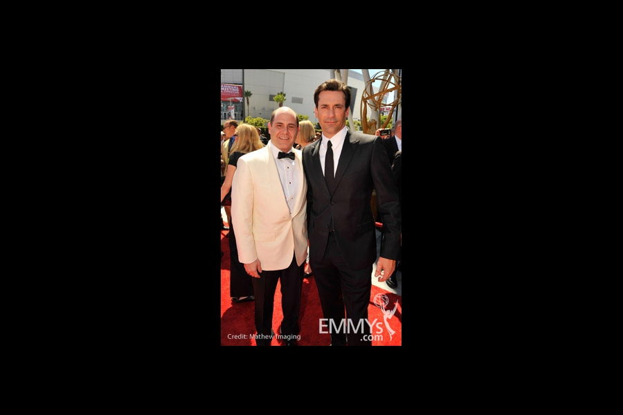 Matthew Weiner and Jon Hamm at the 62nd Primetime Creative Arts Emmy Awards