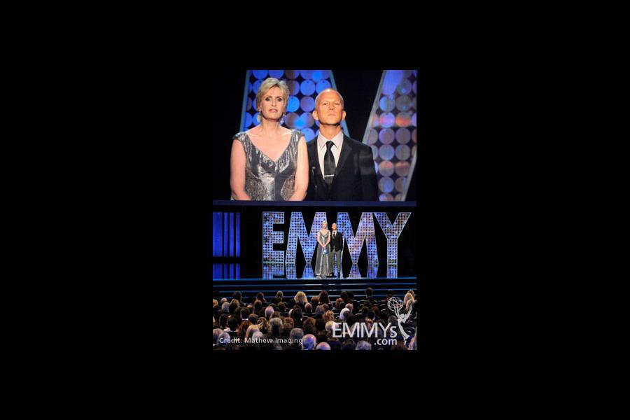 Presenters Jane Lynch and Ryan Murphy of Glee