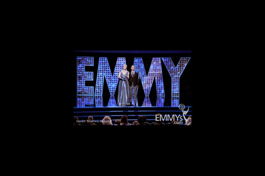 Jane Lynch and Ryan Murphy at the 62nd Primetime Creative Arts Emmy Awards