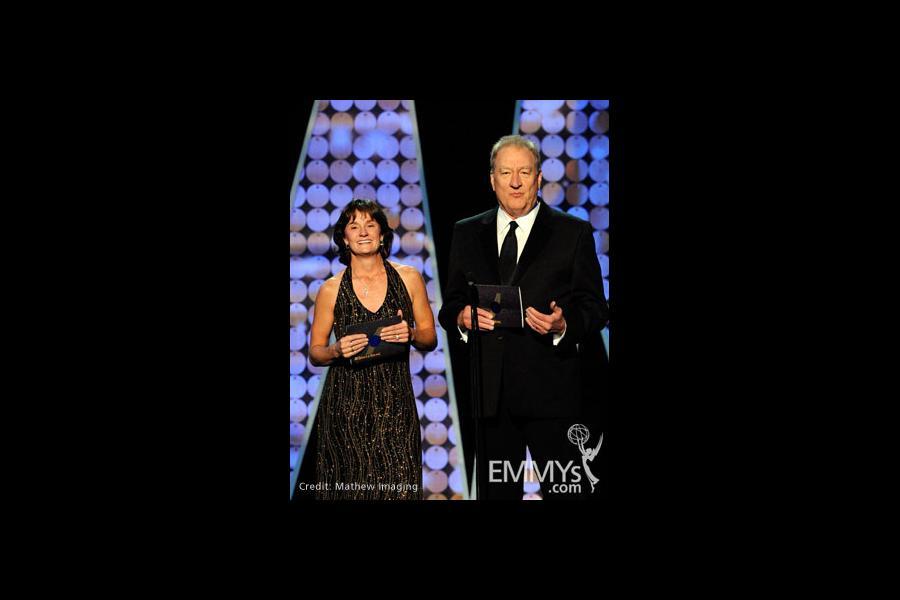 Bonnie Blair (L) and Don Mischer speak onstage during the 62nd Primetime Creative Arts Emmy Awards