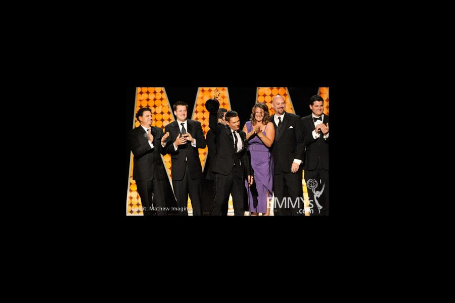"""Winners of Best Reality Program for """"Jamie Oliver's Food Revolution"""" onstage during the 62nd Primetime Creative Arts Emmy Awards"""