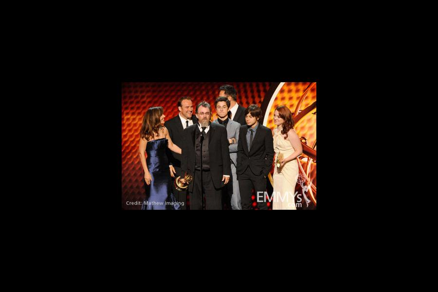 Actors Maria Canals- Barrera, David DeLuise, producer Peter Murietta, actors David Henrie, Jake T. Austin and Jennifer Stone