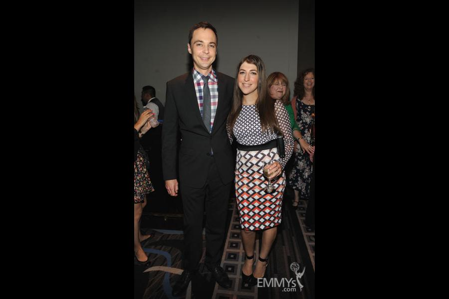Jim Parsons and Mayim Bialik at the 2013 Performers Emmy Celebration