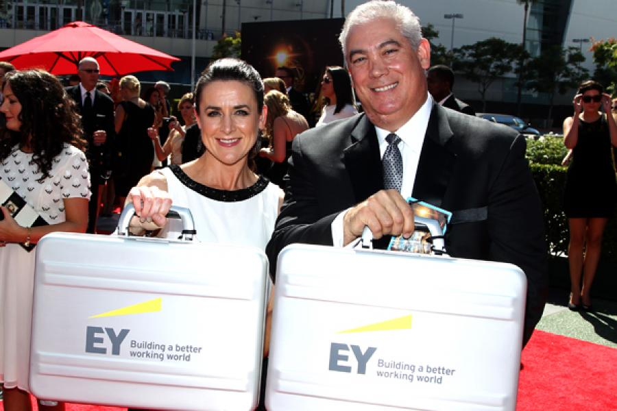 Ernst and Young representatives on the Red Carpet at the 65th Creative Arts Emmys