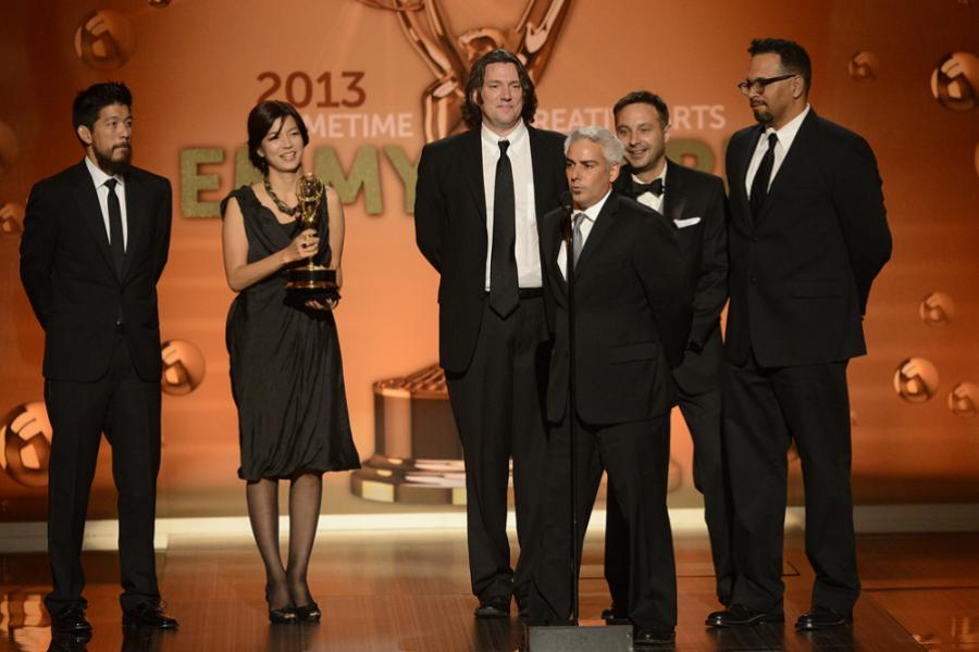 Representatives of Comedy Central accept the award for Outstanding Animated Program for South Park: Raising the Bar