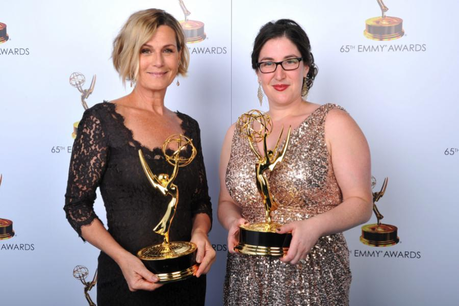 Laray Mayfield and Julie Schubert at the 65th Creative Arts Emmys