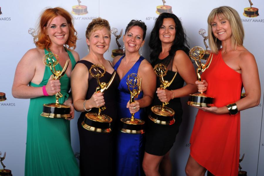 Jennifer Serio Stauffer, Inga Thrasher, Bettie O. Rogers, Jodi Mancuso, and Cara Hannah Sullivan at the 65th Creative Arts Emmys