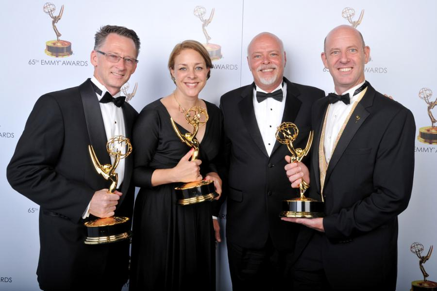 John Janavs, Heidi Miller, Kevin Lewis, and Robert Frye at the 65th Creative Arts Emmys