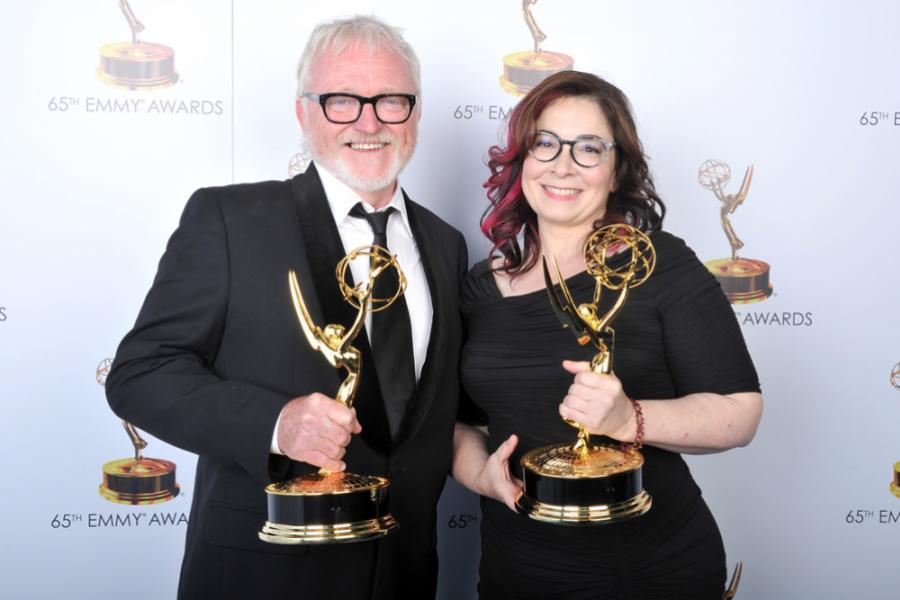 Bill Groom and Carol Silverman at the 65th Creative Arts Emmys