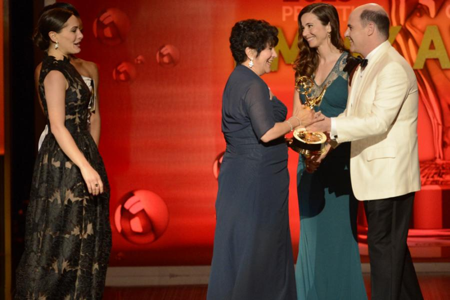 Lisa Dellechiaie and Francesca Paris accept the award for Outstanding Hairstyling for a Single-Camera Series for Boardwalk Empire