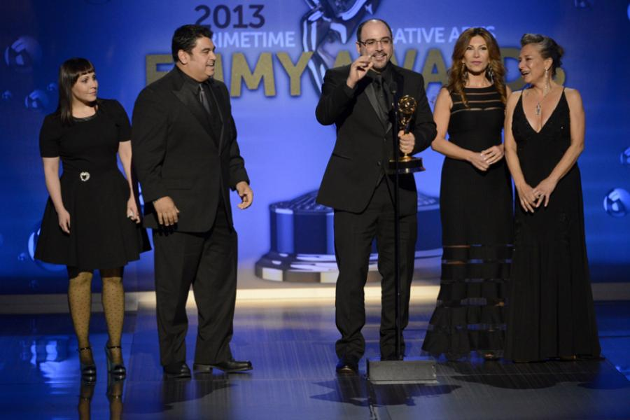 Amy Tagliamonti, Josh Turi, Louie Zakarian, Daniela Zivkovic, and Melanie Demitri, winners for Saturday Night Live , Outstanding Makeup for a Multi-Camera Series or Special (Non-Prosthetic)