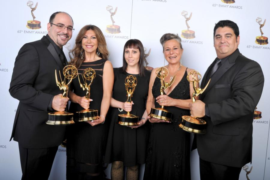 Louie Zakarian, Daniela Zivkovic, Amy Tagliamonti, Melanie Demetri, and Josh Turi at the 65th Creative Arts Emmys