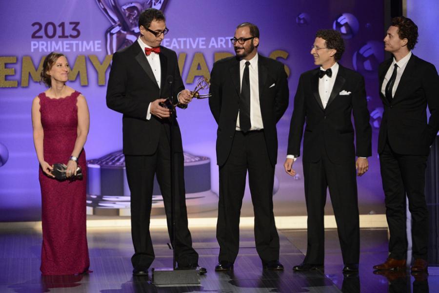 Annette Kudrak, Fred Rosenberg, Ruy Garcia, Jeffrey Stern, Roland Vajs accept the award for Outstanding Sound Editing for a Series for Boardwalk Empire