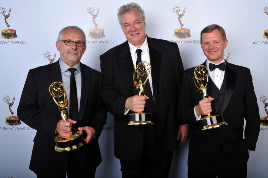 Elliot Scheinet, Tom Fleischman, and Bret Johnson at the 65th Creative Arts Emmys
