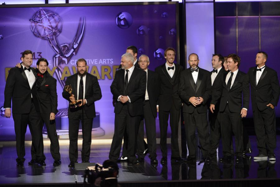 Creative team of Deadliest Catch accepts the award for Outstanding Cinematography for Reality Programming