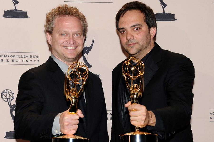 David Javerbaum and Adam Schlesinger backstage at the 65th Creative Arts Emmys